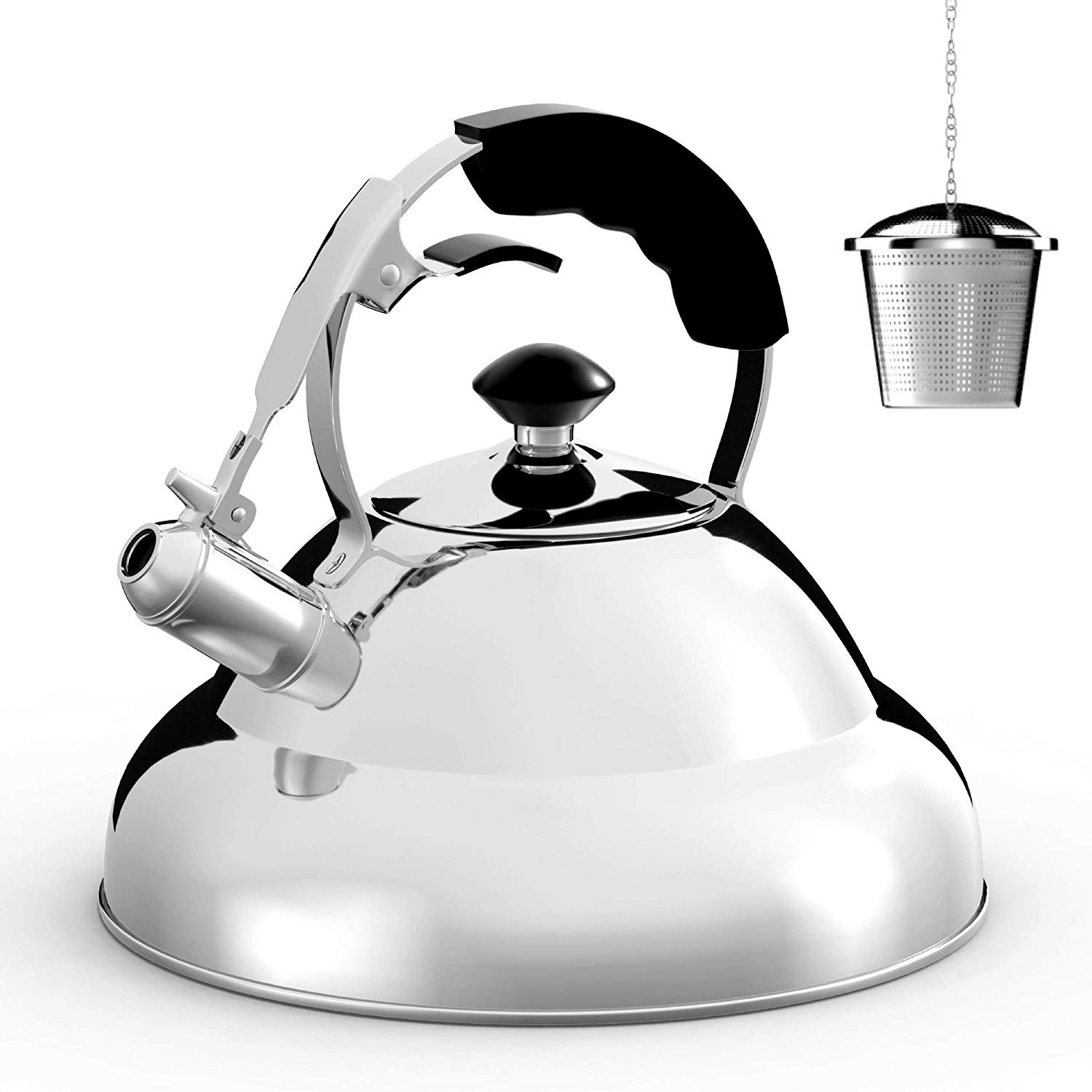 Willow and Everett Surgical Whistle Teapot With Capsule Bottom and Mirror Finish