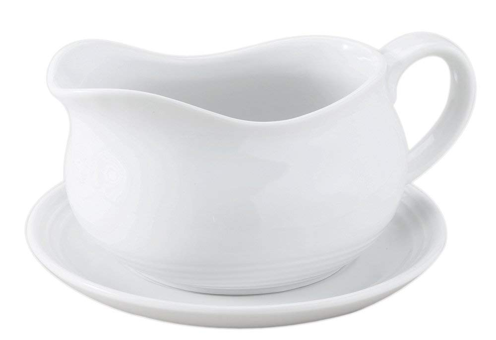 HIC Hotel Gravy Sauce Boat with Saucer Stand