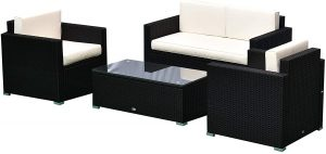 Outsunny 4 Pieces Outdoor Wicker Patio Sofa Set, Rattan Conversation Furniture Set with Cushions and Coffee Table, Black/White