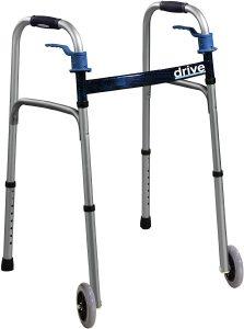 Drive Medical Trigger Release Folding Walker, Brushed Steel