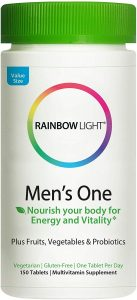Rainbow Light Men's One Multivitamin, Once-Daily High-Potency Multivitamin with Superfoods and Probiotics for Nutritional Support, Non-GMO Vegetarian & Gluten Free, 150 Tablet
