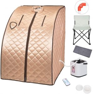 ZeHuoGe Portable Steam Sauna Kit SPA Detox 9-Level Temperature Adjustment 6-Level Time Setting 2L Steamer Digital Display Remote 220LBS Capacity of Chair US Delivery (Champagne Gold