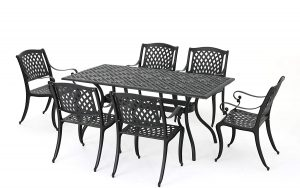 Christopher Knight Home 295848 Marietta Cast Aluminum Outdoor Dining Set, 7 Piece, Black Sand