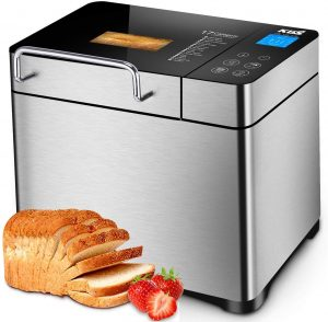 KBS Pro Stainless Steel Bread Machine, 2LB 17-in-1 Programmable XL Bread Maker with Fruit Nut Dispenser, Nonstick Ceramic Pan& Digital Touch Panel, 3 Loaf Sizes 3 Crust Colors, Reserve& Keep Warm Set