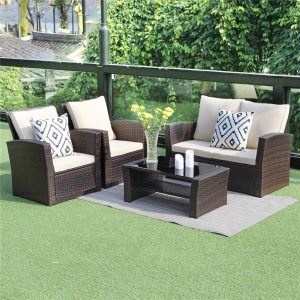 Wisteria Lane 5 Piece Outdoor Patio Furniture Sets, Wicker Ratten Sectional Sofa with Seat Cushions, Brown