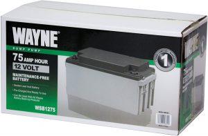 Wayne WSB1275 75Ah Maintenance-Free Battery Recommended for Wayne ESP25, Wayne WSS30VN and Wayne Basement Guardian