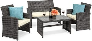 Best Choice Products 4-Piece Wicker Patio Conversation Furniture Set w/ 4 Seats and Tempered Glass Top Table, Gray