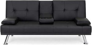 Best Choice Products Modern Faux Leather Futon Sofa