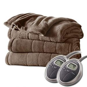 Sunbeam Channeled Velvet Plush Electric Heated Blanket