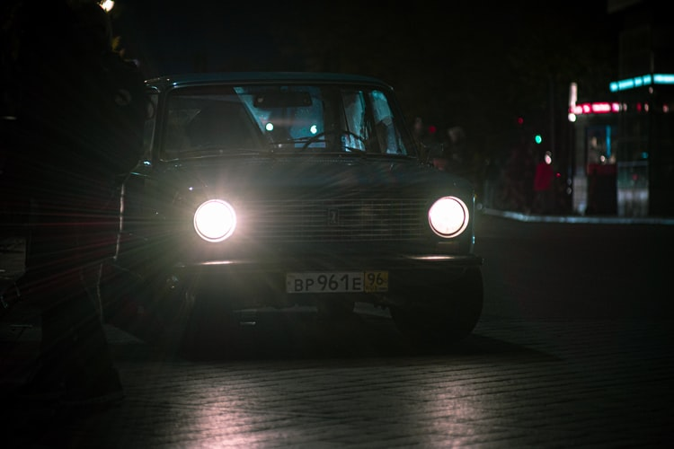 car with the lights on